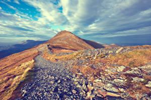 Картинка Гора Камни Небо Облака Природа