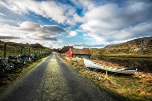 Обои Норвегия Дороги Лодки Небо Дома Облака Забор Nymark Rogaland Природа фото