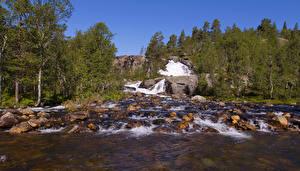 Обои Норвегия Водопады Камни Реки Природа фото