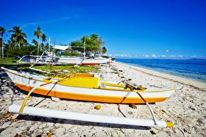 Обои Филиппины Тропики Побережье Лодки Пляж Природа фото