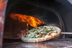 Фотография Пицца Огонь Печь Пища