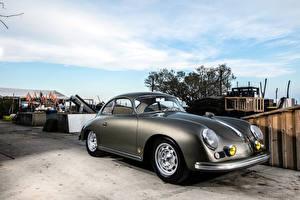 Обои Porsche Ретро Серебристый 1956-57 356A 1600 GS Carrera GT Coupe Автомобили