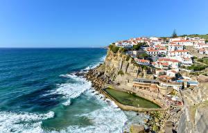 Фото Португалия Здания Побережье Волны Скала Azenhas do Mar Города
