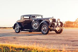 Картинки Ретро Черный Металлик 1930 Stutz Model MA Supercharged Coupe by Lancefield Автомобили