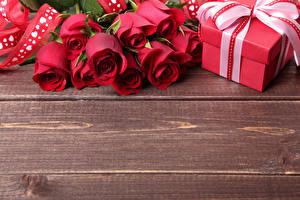 Обои Розы Доски Красный Подарки Цветы
