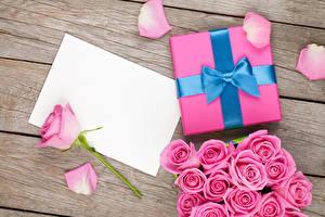 Обои Розы Доски Шаблон поздравительной открытки Розовый Подарки Бантик Лепестки Цветы фото