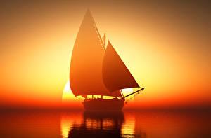 Картинка Парусные Рассветы и закаты Море Корабли Отражение Солнце