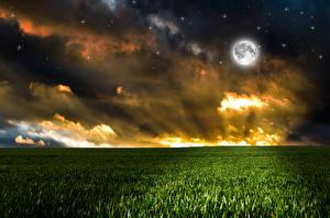 Фотографии Пейзаж Поля Небо Облачно Луна Природа