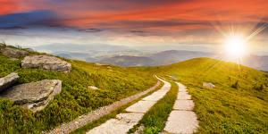 Фотография Пейзаж Рассветы и закаты Небо Дороги Камень Лучи света Природа