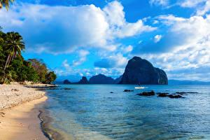 Фотография Пейзаж Тропический Побережье Филиппины Небо Море Скале Облака Palawan