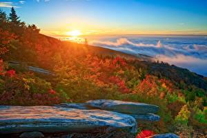 Фотографии Пейзаж США Побережье Рассветы и закаты Осень Камни Облака North Carolina
