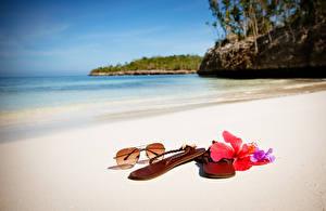 Обои Море Лето Пляж Очки Сланцы Природа