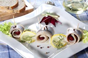 Фото Морепродукты Рыба Лимоны Укроп Еда