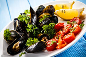 Фотография Морепродукты Тарелка mussels
