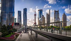 Фотографии Шанхай Китай Мосты Здания Небоскребы Улица Oriental Pearl Tower, Bank of Shanghai Headquarters Города