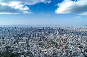 Фотографии Небо Дома Япония Мегаполис Сверху Osaka
