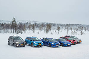 Картинки Subaru Зимние Снег