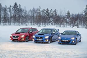 Фото Subaru Зима Втроем Снег Машины