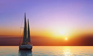 Фотография Рассветы и закаты Море Парусные Яхта Горизонт 3D Графика