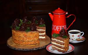 Фотография Сладости Торты Кофе Доски Кувшины Чашка Дизайна Продукты питания