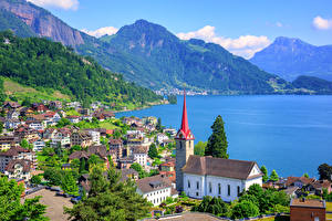 Обои Швейцария Озеро Дома Горы Engelberg Lake Lucerne Города фото