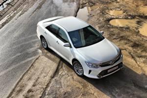 Обои Toyota Сверху Белый Camry 2014 CIS-spec Автомобили фото