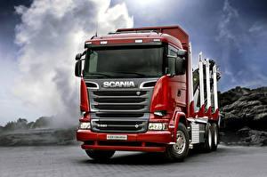 Обои Грузовики Scania Спереди Красный R520, 2013, 6x4 Авто