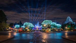 Фото США Диснейленд Парки Дороги Калифорния Анахайм Дизайн Ночные Уличные фонари