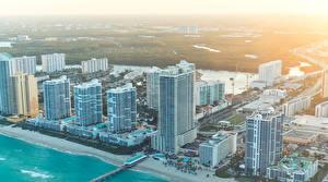 Обои США Дома Побережье Майами Города фото