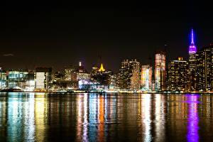 Картинка Штаты Дома Нью-Йорк В ночи Залив Города