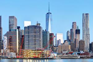 Картинка Штаты Дома Небоскребы Причалы Нью-Йорк город