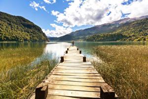 Обои США Озеро Причалы Горы Облака Природа фото