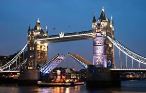 Фотография Великобритания Мосты Реки Дома Англия Лондон Ночь