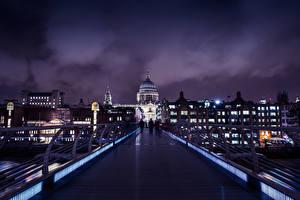 Обои Великобритания Дома Мосты Лондон Ночь Города фото