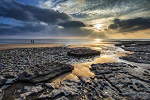 Фото Великобритания Рассветы и закаты Берег Небо Пейзаж Облака Dunraven Bay Wales