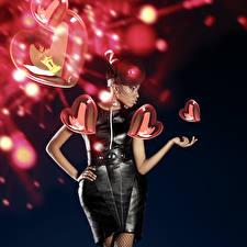 Фотография День святого Валентина Черный фон Сердце Платье Негр Девушки