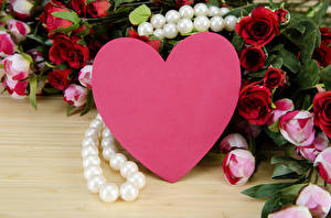 Картинки День святого Валентина Роза Пион Украшения Жемчуг Доски Сердце цветок