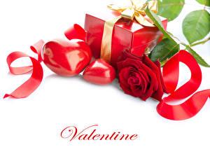 Фото День святого Валентина Розы Белый фон Английский Красный Сердце Подарки Лента Цветы