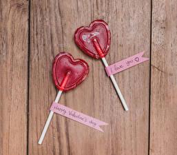 Обои День святого Валентина Сладости Леденцы Доски Сердечко Двое Английский