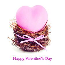 Обои День святого Валентина Белый фон Английский Гнездо Сердце Бантик