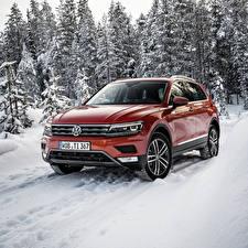 Обои Volkswagen Снег Оранжевый Tiguan Автомобили фото