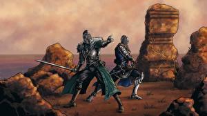 Фотографии Воители Рыцарь Dark Souls Мечи Двое 2 Игры Фэнтези
