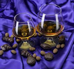 Обои Виски Ракушки Шоколад Конфеты Бокалы 2 Пища