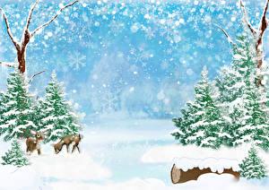 Фото Зимние Времена года Олени Ель Снег Снежинки Природа
