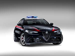 Фото Alfa Romeo Полицейский Спереди Черных 2016 Giulia Quadrifoglio Carabinieri