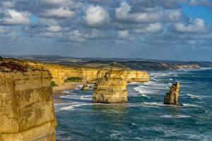 Фотографии Австралия Океан Берег Утес Great Ocean Road Victoria