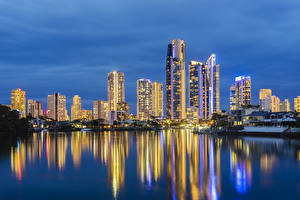 Обои Австралия Небоскребы Реки Вечер Мельбурн Города фото
