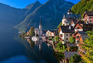 Обои Австрия Дома Озеро Горы Причалы Халльштатт Побережье Города фото