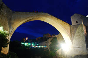 Обои Босния и Герцеговина Мосты Дома Ночь Old Bridge Mostar Города фото