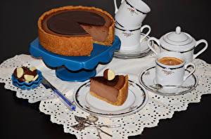 Фотография Торты Кофе Конфеты Чашке Ложка Пища